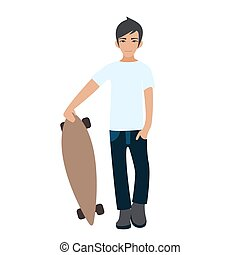 Male Asian college student standing with longboard. Young man skateboarder.