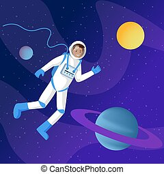 Male astronaut in outer space illustration. Interstellar traveler, cosmonaut in spacesuit floating in cosmos cartoon vector character. Saturn solar system planet, sun in cosmic sky