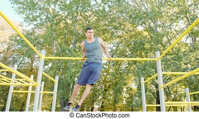 Male Athlet Pull-up Strength Training Exercise - Pull-up...
