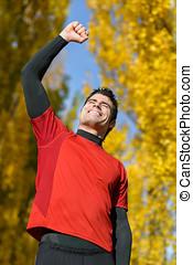 Male athlete celebrating victory