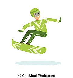 Male athlete character in sportswear jumping with snowboard, active sport lifestyle vector Illustration