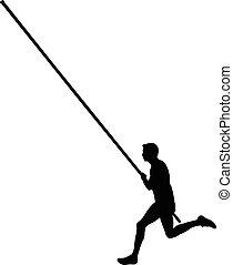 male athlete pole vaulting