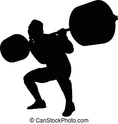 male athlete powerlifter squat barbell black silhouette