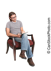one twenties young man author writing in a chair over white