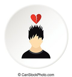 Male avatar and broken heart icon, flat style
