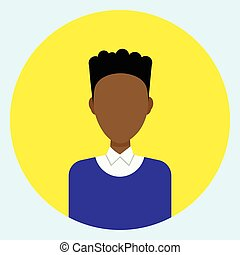 Male Avatar Profile Icon Round African American Man Face
