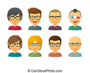 Male avatars wearing glasses with various hair styles - Set...