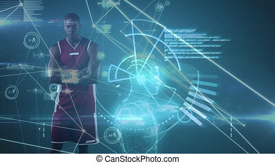 Male basketball player against data processing in background