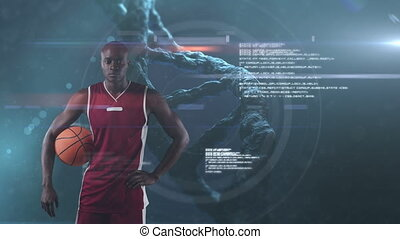Male basketball player against DNA structure spinning