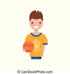 Male basketball player character, smiling guy in sports uniform holding ball vector Illustration on a white background