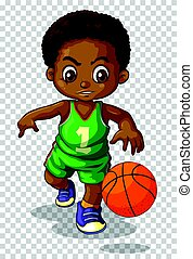 Male basketball player on transparent background