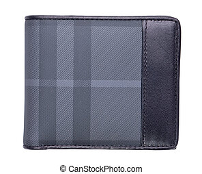 male black leather wallet isolated on white