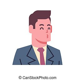 Male Blow Kiss Emotion Icon Isolated Avatar Man Facial Expression Concept Face