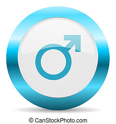 male blue glossy icon