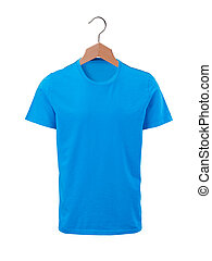 Male blue t-shirt on wooden hangers isolated on white