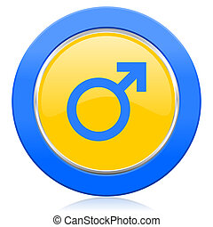 male blue yellow icon male gender sign