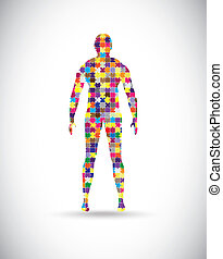 Male body - Abstract male body built of puzzle pieces