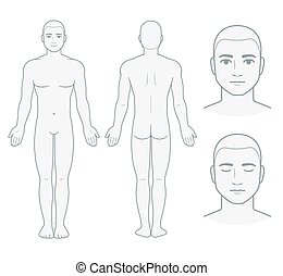 Male body and face chart, front and back view with head close up. Blank man body template for medical infographic. Isolated vector illustration.