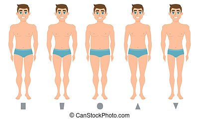 Male body figures, man standing, men shapes