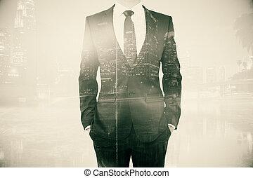 Male body on city background