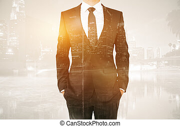 Male body on city background