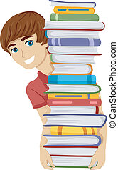 Male Bookworm - Illustration of a Guy Carrying a Tall Stack...