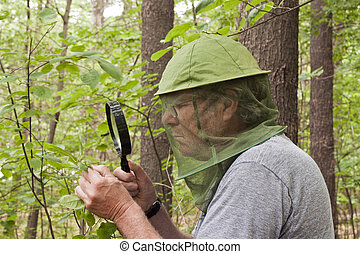 male botanist inspecting a plant with a magnifying glass