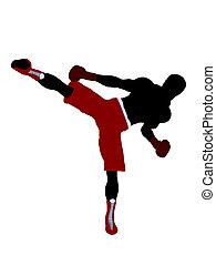 Male Boxer Illustration Silhouette - Male boxer art...