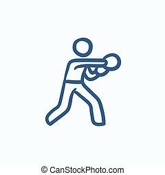 Male boxer sketch icon. - Male boxer vector sketch icon...