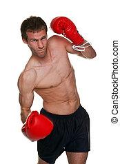 Male boxer uppercut punch