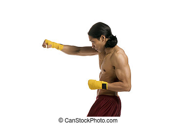 male boxer with a jab
