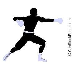 Male Boxng Illustration Silhouette - Male boxing art...