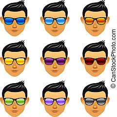 Male boy head with sunglasses