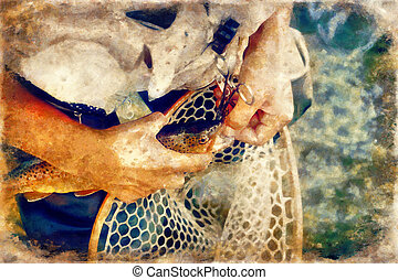 Male brook trout in a landing net and painting effect.