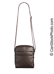 male brown leather bag, isolated on white