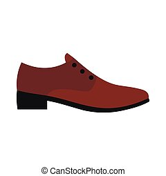 Male brown shoe icon, flat style