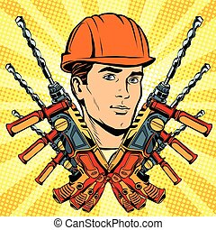 Male Builder work and electric drill
