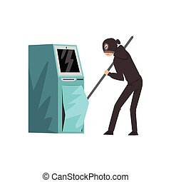 Male burglar Dressed in Black Clothes and Masks Trying to Steal Money from ATM Vector Illustration