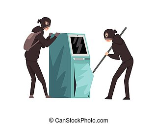Male Burglars Dressed in Black Clothes and Masks Trying to Steal Money from ATM Vector Illustration