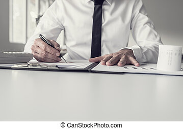 Male business accountant pointing to a graph with a pen