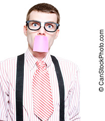 Male Business Dweeb With Purple Sticky Message - Isolated...