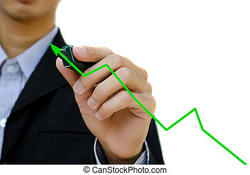 Male business hand drawing a graph.