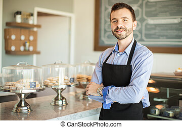 Male business owner in a bakery