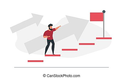 Male businessman climbs the stairs to take the flag. Business concept in process vector illustration