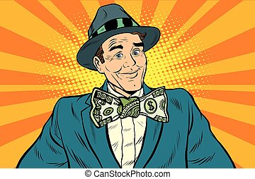 Male businessman in a bow tie dollar money