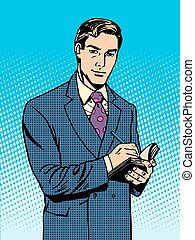 Male businessman with a notebook pop art retro vintage style