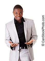 Male businessman with open palms.