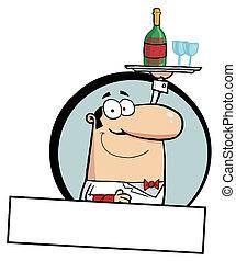 Male Butler Serving Wine