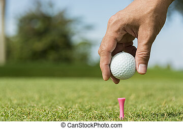 Male caddie putting golf ball on pink peg