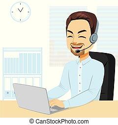 Male Call Center Operator - Illustration of Male call center...
